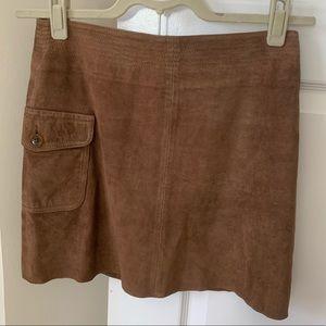 J Crew Suede Mini Skirt in Nutmeg